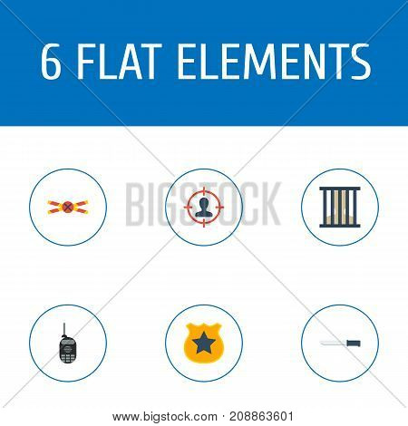 Flat Icons Officer Emblem, Warning Strip, Bayonet And Other Vector Elements