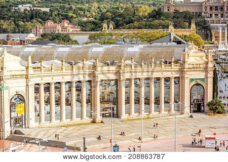 BARCELONA, SPAIN - August 16, 2017: View on the Barcelonas trade fair institution building on the Spain square in Barcelona