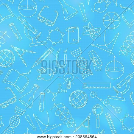 Seamless pattern on the theme of science and inventions diagrams charts and equipment a light contour icons on blue background