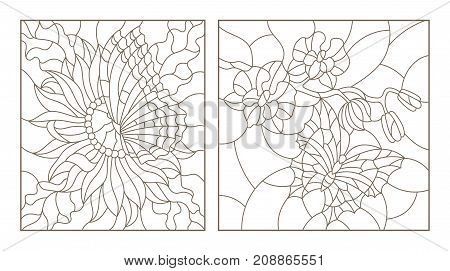 Set contour illustrations of the stained glass with butterflies and flowers Orchid and Aster butterfly black contour on white background