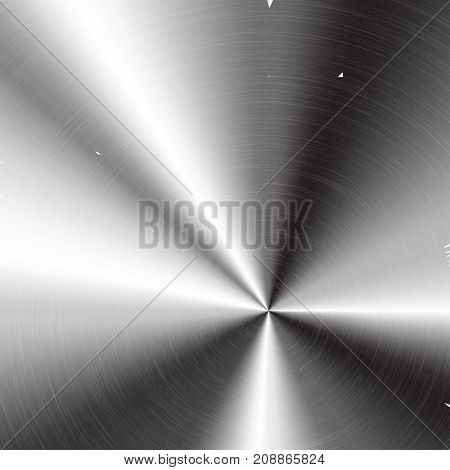 Abstract technology background with polished, brushed circular metal texture, chrome, silver, steel, aluminum for design concepts, web, prints, posters, wallpapers interfaces Vector illustration