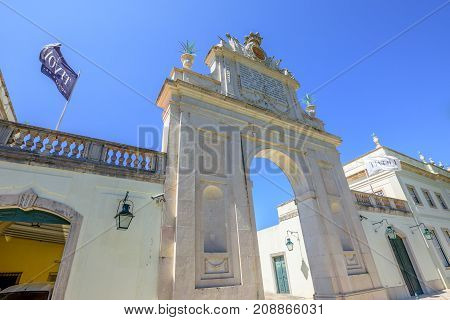 Sintra, Portugal - August 9, 2017: bottom view of Seteais Palace, a neoclassical palace part of Sintra Unesco World Heritage site in the blue sky. The Palacio de Seteais is now five star Hotel Tivoli.