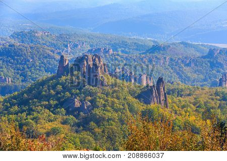 Mountains panorama of Belogradchik cliff rocks nature gem landmark Bulgaria