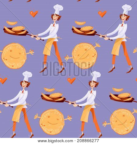 Boys tosses pancakes in large frying pans. Happy Pancake Day! Seamless background pattern. Vector illustration