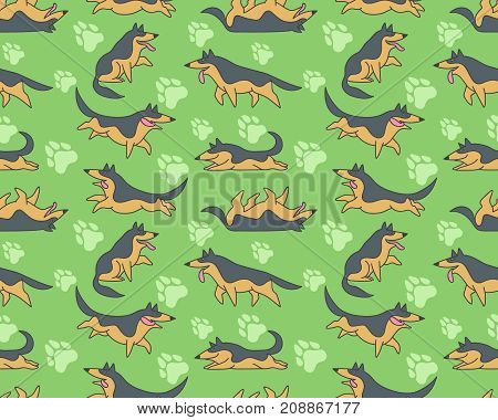 Seamless vector patterm with funny cartoon german shepherd dogs and paw prints