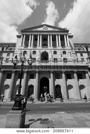 Bank Of England In London Black And White