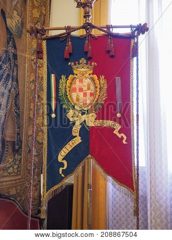 Town Flag At Palazzo Civico (town Hall) In Cagliari