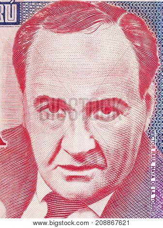 Victor Raul Haya de la Torre portrait from Peruvian money