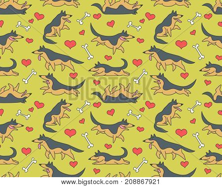 Seamless vector patterm with funny cartoon german shepherd dogs and bones and hearts