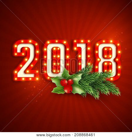 Retro 3d numeric 2018 with electric bulbs. Christmas new year concept red background. Vector illustration.