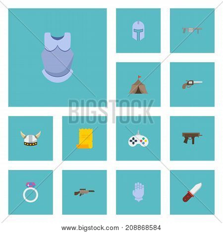 Set Of Game Flat Icons Symbols Also Includes Knight, Barracks, Magic Objects.  Flat Icons Tent, Parchment, Handgun Vector Elements.