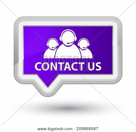Contact Us (customer Care Team Icon) Prime Purple Banner Button