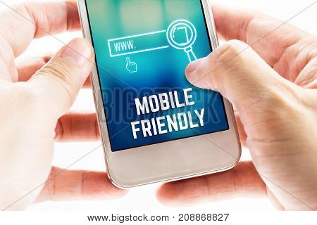 Close Up Two Hand Holding Mobile Phone With Mobile Friendly And Search Icon, Digital Marketing Conce