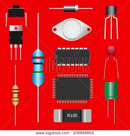 Group of Electronic parts isolated on red background, Microchip,Integrated circuit,Capacitor,Diode,Transistor,Mosfet,Switch,Resistor. Vector illustration design, EPS10