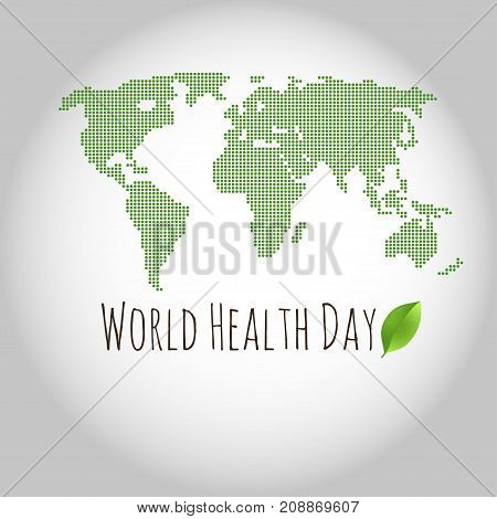 World health day concept with green map . Advertisement of healty lifestyle and vegan food. Vector circle illustration.