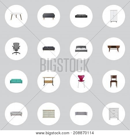 Realistic Footstool, Settee, Couch And Other Vector Elements