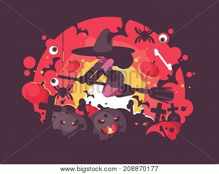 Witch on broomstick flies to Halloween cemetery at night. Vector illustration