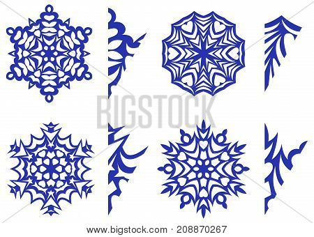 snowflakes for decor with patterns for carving, vector