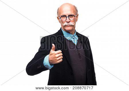 Handsome Senior Old Man Senior Thumbs Up Isolated On White Background