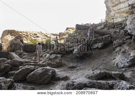 New World, Crimea - 12 July, People climb the stone stairs, 12 July, 2017. Travel along the coast along the path of Prince Golitsyn.
