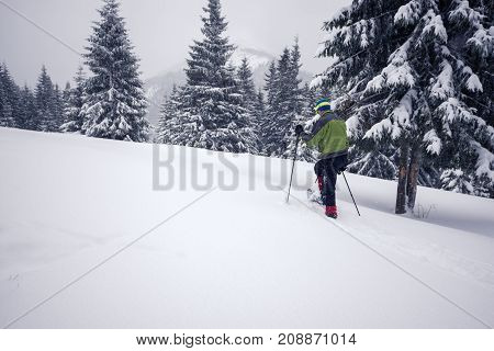 Traveler, In Snowshoes, Climbs Up The Slope
