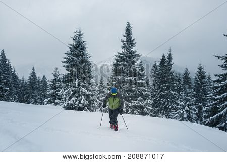 Adventurer, In Snowshoes, Climbs Up The Slope
