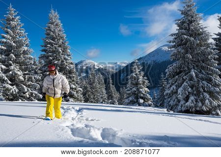 Happy Traveler, Woman Goes Snowshoeing