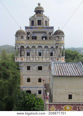 Kaiping Diaolou top view of Jinjiangli watchtower in Chikan Unesco world heritage site Guangdong China