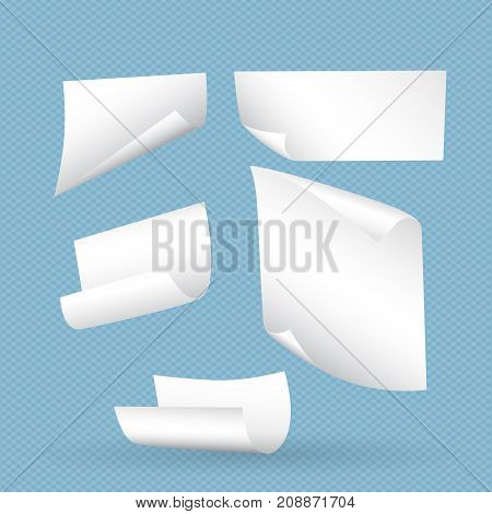 White curl paper notebook sheets with shadow for note or message falling on blue squared background.