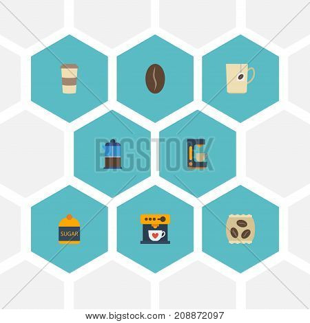 Flat Icons Package Latte, Mug, Coffeemaker And Other Vector Elements