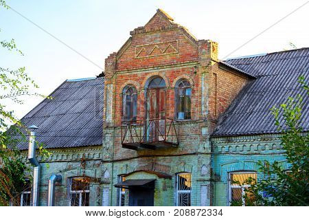 Zaporizhzhia/Ukraine - September 3, 2017: view of old historical house of doctor Theodore Gotman, built in 1912 by Mennonite settlers in Hospital Town