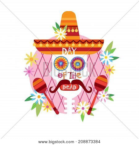 Skull Day Of Dead Concept Traditional Mexican Halloween Dia De Los Muertos Holiday Party Decoration Banner Invitation Flat Vector Illustration
