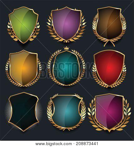 Golden Shields And Laurel Wreaths Retro Design Collection 5.eps