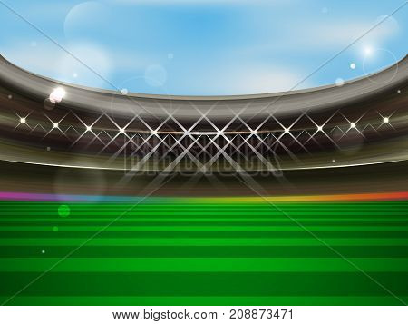 Soccer stadium vector banner. Football arena with spotlights tribunes and green grass. The concept of a match invitation.