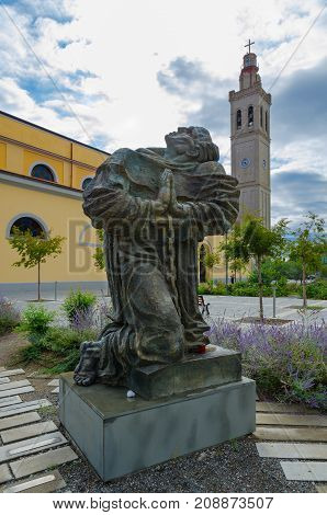 SHKODER ALBANIA - SEPTEMBER 6 2017: Monument Martyrs devoted to 40 martyrs of albanian nation during the communist regime in Albania on John Paul II Square in front of St. Stephen's Cathedral