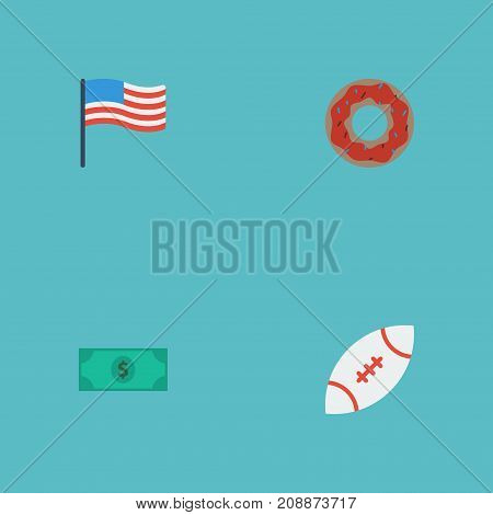Flat Icons Greenback, Football, America And Other Vector Elements