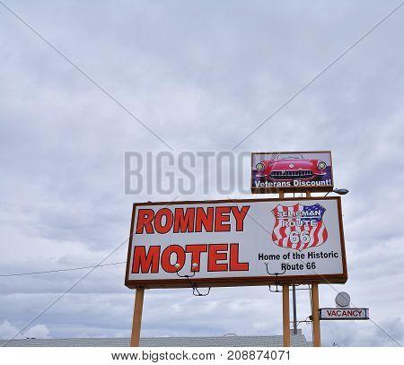 Seligman, Arizona, Usa - July 24, 2017: Sign of Romney Motel on historic Route 66 in Seligman, Arizona