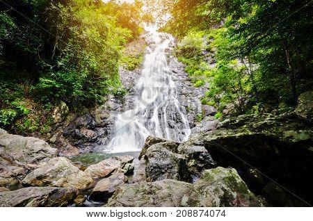 Amazing beautiful waterfalls at Sarika Waterfall in NakhonnayokThailand.