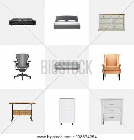 Realistic Boss Armchair, Mattress, Worktop And Other Vector Elements