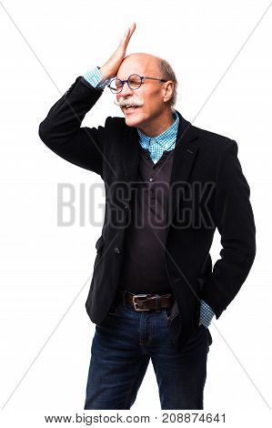 Sclerotic Middle Aged Senior With Grayed Hair Forgot Appointment On White Background