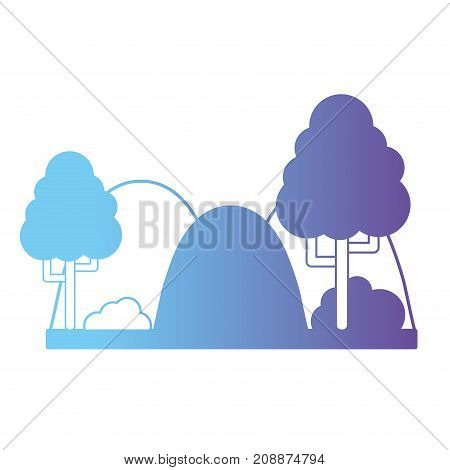 line mountainds with trees and bush landscape vector illustration