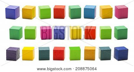 Color Wood Blocks Toys Blank Multicolored Wooden Cube Bricks Isolated over White Background with clipping path
