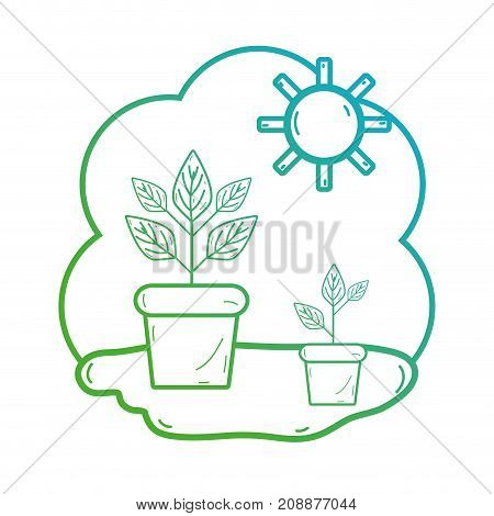 line plant with leaes inside flowerpot and sun vector illustration
