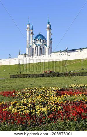 Beautiful view of the Kazan Kremlin with the Kul Sharif mosque Republic of Tatarstan Russia