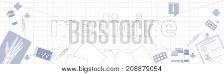Medicine Stuff On Squared Notebook Paper Background Therapy Equipment Concept Vector Illustration
