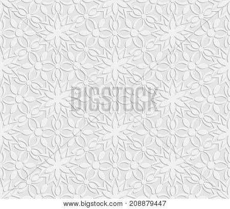 Seamless 3D white pattern floral pattern indian ornament persian motif vector. Endless texture can be used for wallpaper pattern fills web page background surface textures.