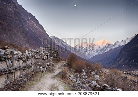 Langtang Valley Moonrise Over Mountain