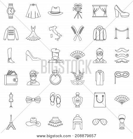 Fashion icons set. Outline style of 36 fashion vector icons for web isolated on white background