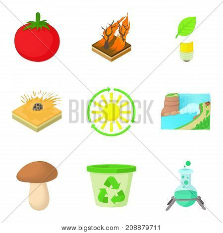 Solar energy icons set. Cartoon set of 9 solar energy vector icons for web isolated on white background