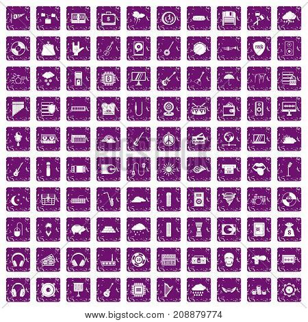 100 music festival icons set in grunge style purple color isolated on white background vector illustration